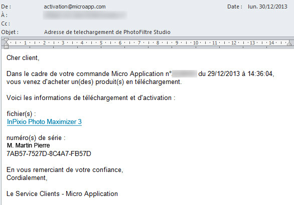 Exemple d'un mail d'activation de produit MicroApp