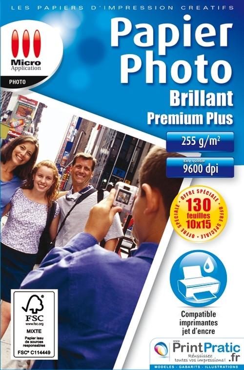 Papier Photo Brillant 10x15 255g/m² 130f